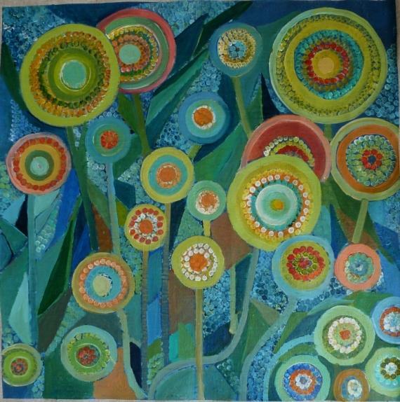 Fleurs rondes sur tiges-Peinture