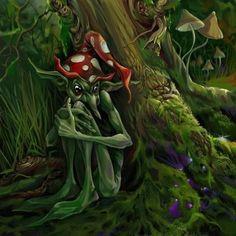 Gnome assis contre arbre
