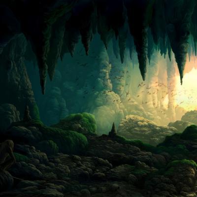 Grotte verte ouverte sur lumière