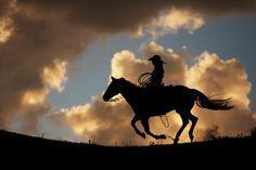 Homme à cheval noir sur fond crépusculaire