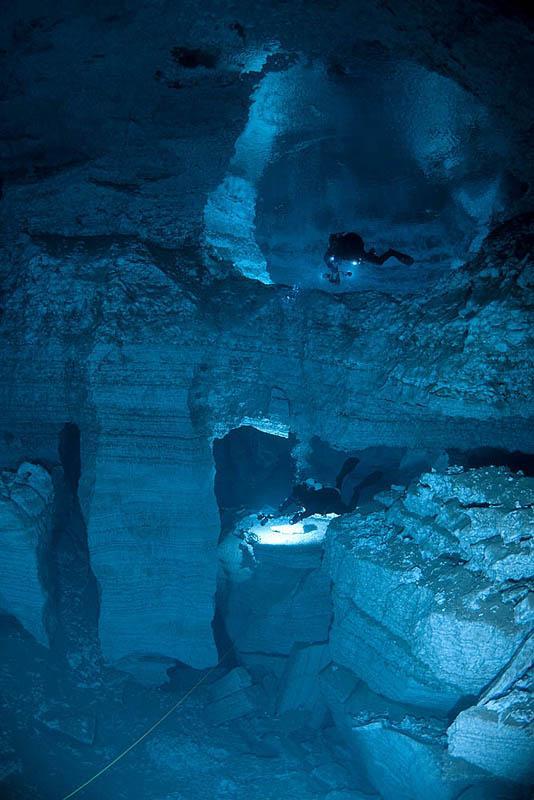 Homme dans grotte bleue