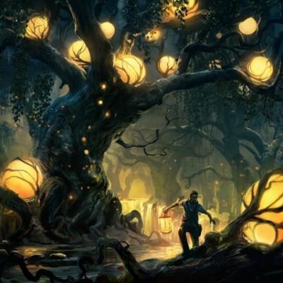 Homme et arbre éclairé par boules lumineuses