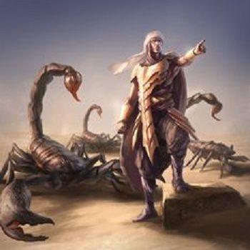Homme et scorpion géant