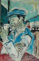 Homme seul accoudé à bar-Peinture