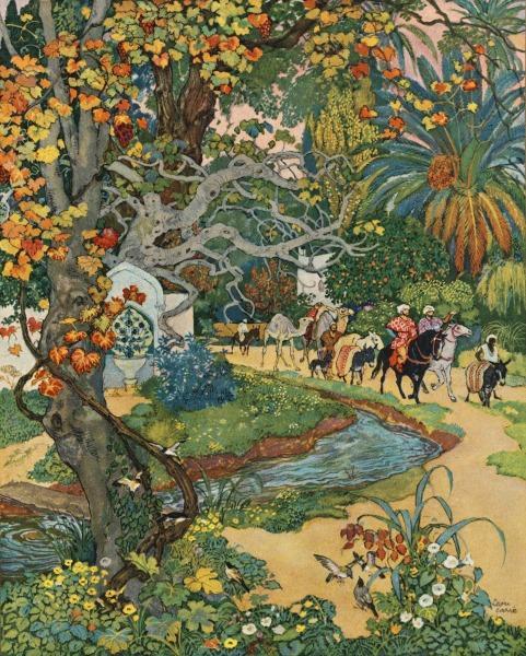 Hommes à cheval dans jardin