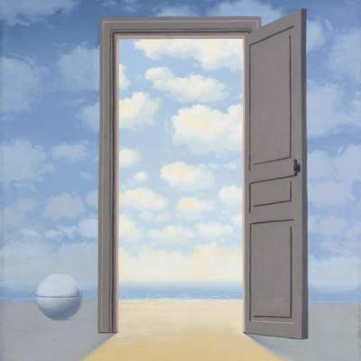 L'embellie-Porte ouverte sur nuages-Magritte