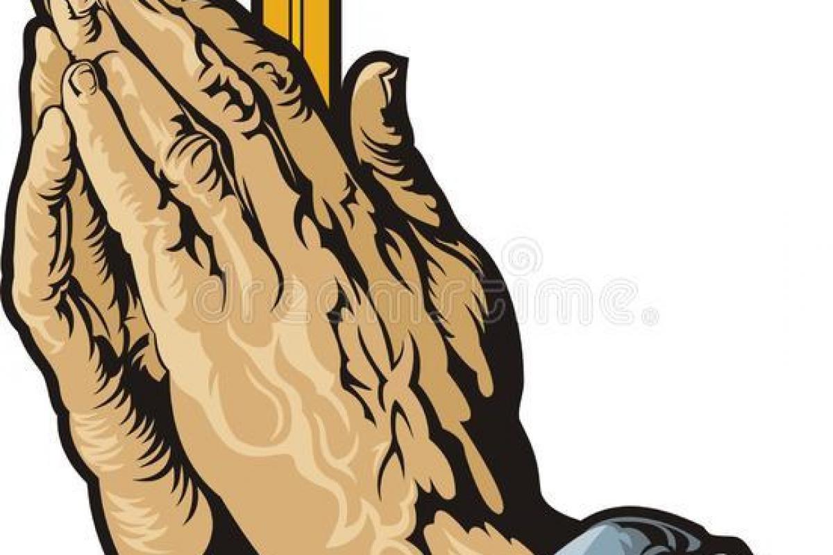 Mains priant avec croix