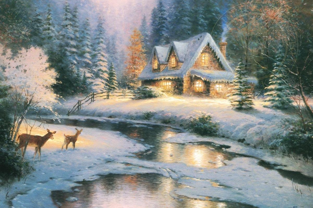 Maisonnette dans paysage de neige