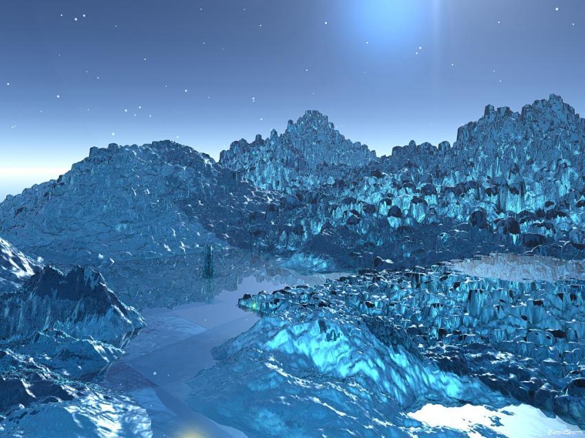 Monde de glace bleu
