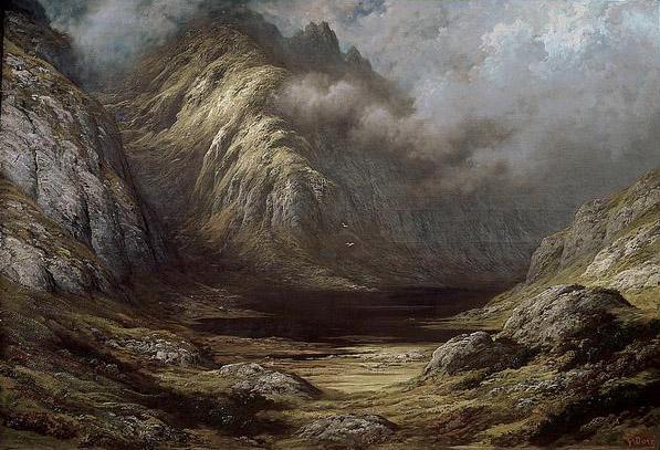 Montagne et lac desséché