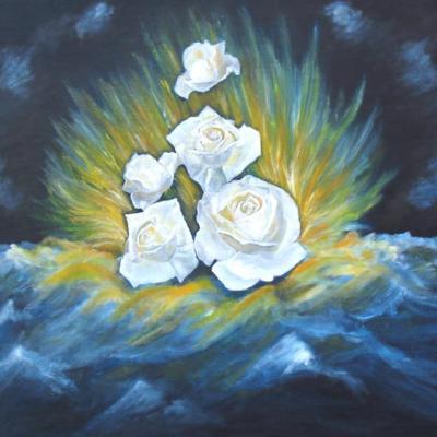 Naissance de fleurs sur vague-Peinture