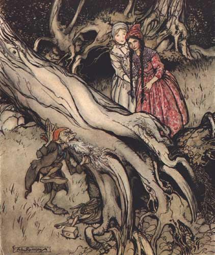 Neigeblanche Roserouge et nain