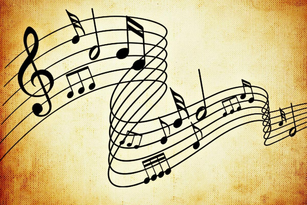Notes de musique en mouvement