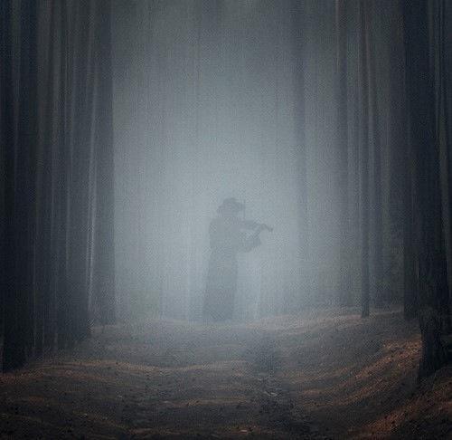 Ombre de musicien dans forêt nocturne