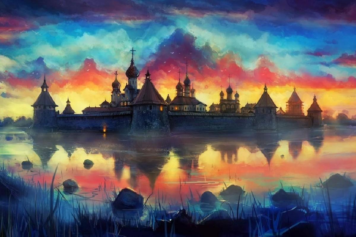 Palais oriental dans paysage fantastique