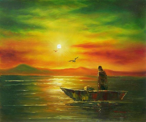 Pêcheur debout dans barque-Peinture