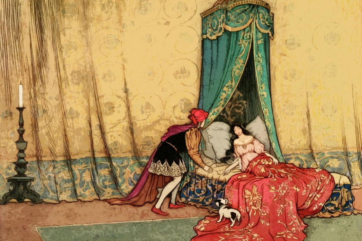 Prince au pied de princesse endormie
