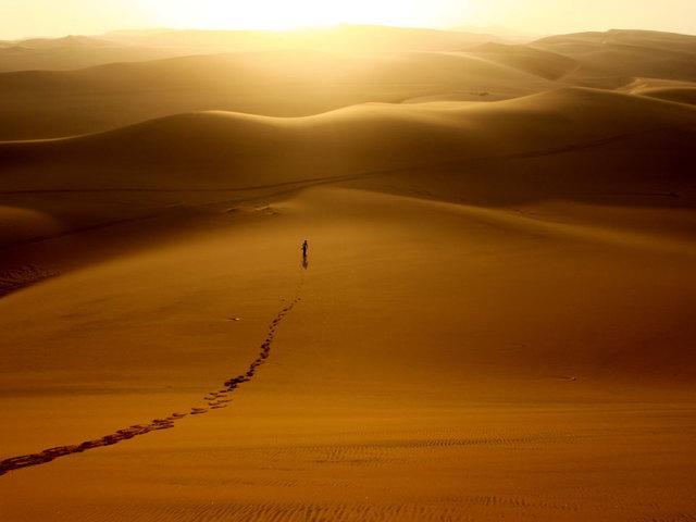 Silhouette dans désert