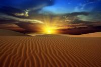 Soleil illuminant désert de Gobi