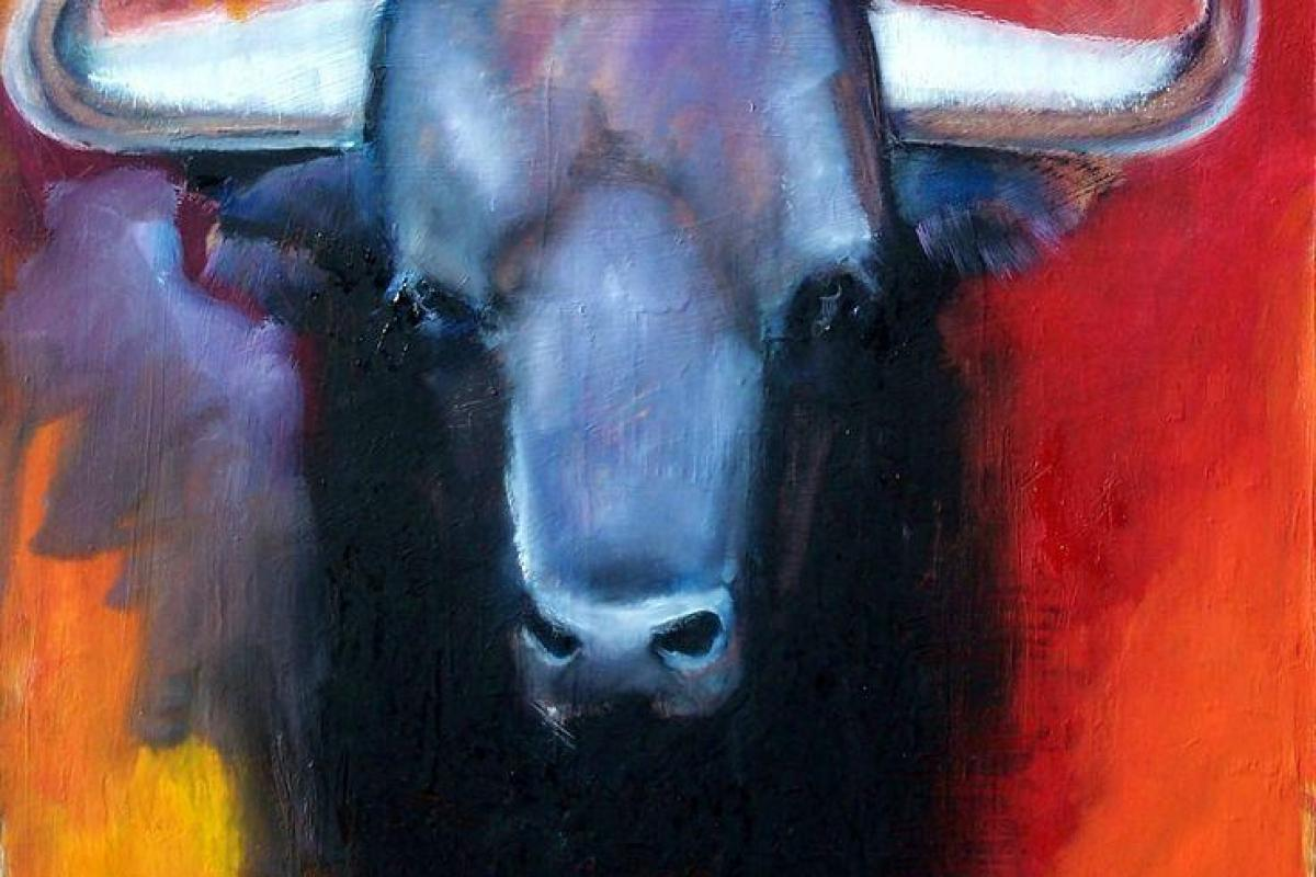 Tête taureau bleu-Peinture