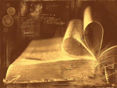 Vieux livre aux feuilles recourbées