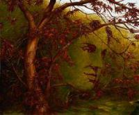Visage d'homme dans arbre