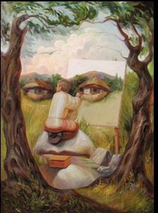 Visage d'homme-nature-Peinture