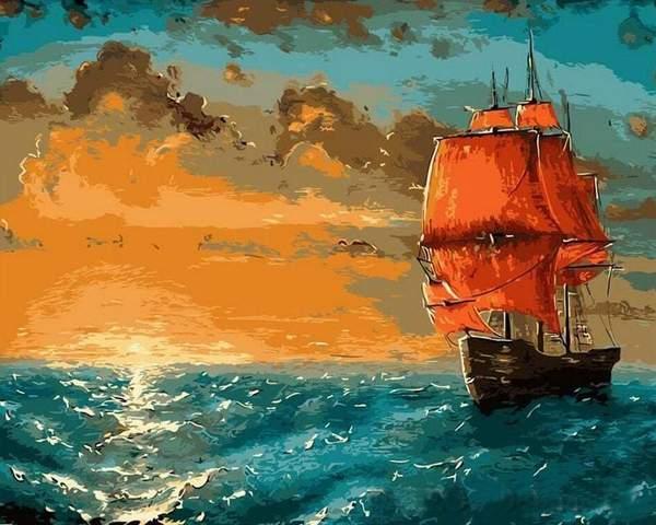 Voilier voiles rouges-Peinture