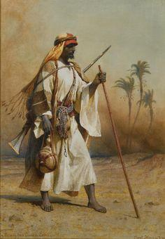 Voyageur oriental avec bâton